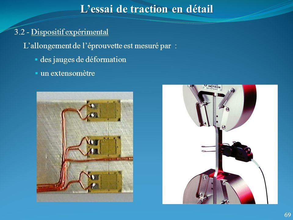 69 Lessai de traction en détail 3.2 - Dispositif expérimental Lallongement de léprouvette est mesuré par : un extensomètre des jauges de déformation