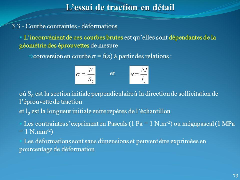 73 Lessai de traction en détail 3.3 - Courbe contraintes - déformations Linconvénient de ces courbes brutes est quelles sont dépendantes de la géométrie des éprouvettes de mesure conversion en courbe = f( ) à partir des relations : où S 0 est la section initiale perpendiculaire à la direction de sollicitation de léprouvette de traction et l 0 est la longueur initiale entre repères de léchantillon et Les contraintes sexpriment en Pascals (1 Pa = 1 N.m -2 ) ou mégapascal (1 MPa = 1 N.mm -2 ) Les déformations sont sans dimensions et peuvent être exprimées en pourcentage de déformation