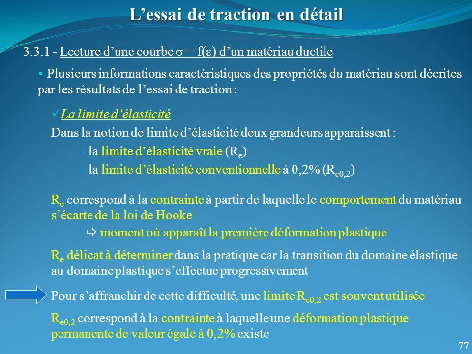 77 Lessai de traction en détail 3.3.1 - Lecture dune courbe = f( ) dun matériau ductile Plusieurs informations caractéristiques des propriétés du maté