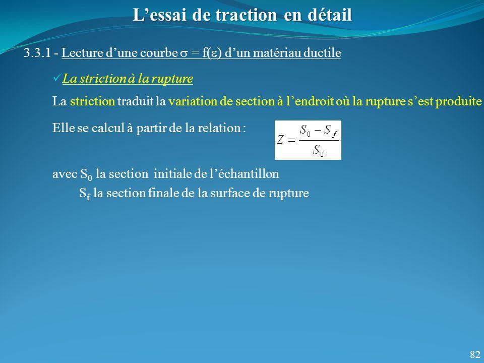 82 Lessai de traction en détail 3.3.1 - Lecture dune courbe = f( ) dun matériau ductile La striction à la rupture La striction traduit la variation de section à lendroit où la rupture sest produite Elle se calcul à partir de la relation : avec S 0 la section initiale de léchantillon S f la section finale de la surface de rupture