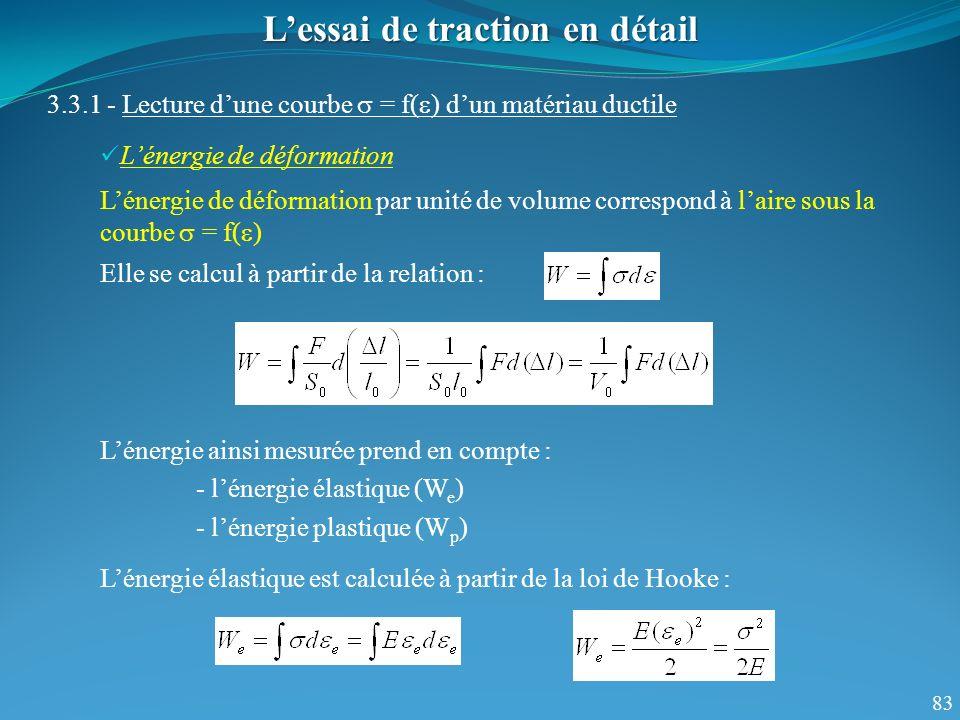 83 Lessai de traction en détail 3.3.1 - Lecture dune courbe = f( ) dun matériau ductile Lénergie de déformation Lénergie de déformation par unité de volume correspond à laire sous la courbe = f( ) Elle se calcul à partir de la relation : Lénergie ainsi mesurée prend en compte : - lénergie élastique (W e ) - lénergie plastique (W p ) Lénergie élastique est calculée à partir de la loi de Hooke :