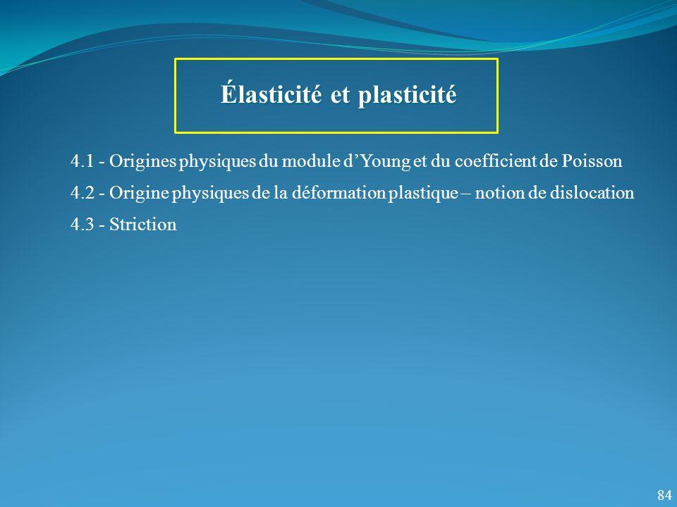 4.1 - Origines physiques du module dYoung et du coefficient de Poisson 84 Élasticité et plasticité 4.2 - Origine physiques de la déformation plastique