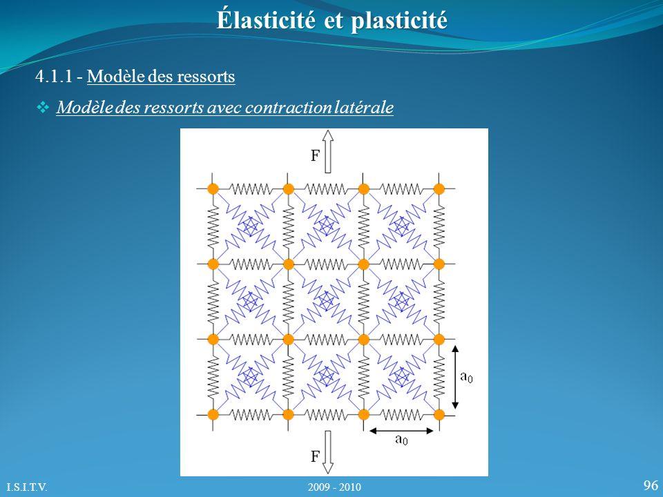 96 4.1.1 - Modèle des ressorts Élasticité et plasticité Modèle des ressorts avec contraction latérale I.S.I.T.V. 2009 - 2010