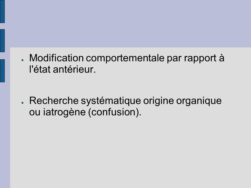 Modification comportementale par rapport à l'état antérieur. Recherche systématique origine organique ou iatrogène (confusion).