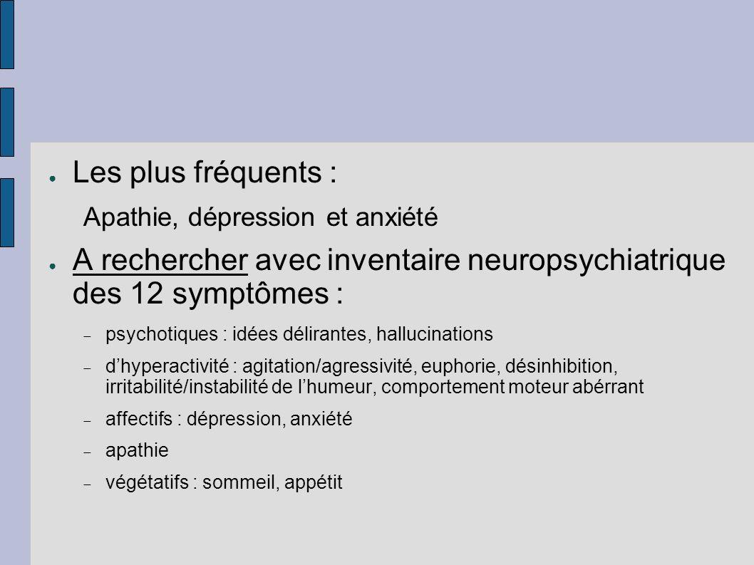 Les plus fréquents : Apathie, dépression et anxiété A rechercher avec inventaire neuropsychiatrique des 12 symptômes : psychotiques : idées délirantes