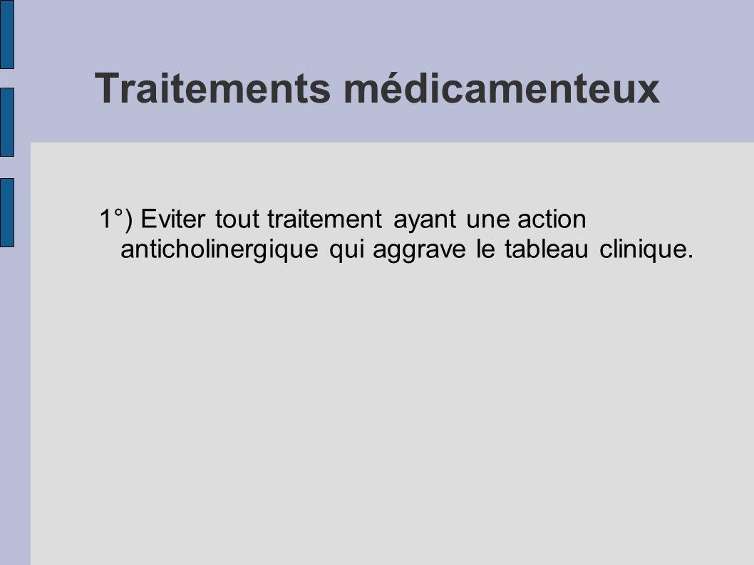 Traitements médicamenteux 1°) Eviter tout traitement ayant une action anticholinergique qui aggrave le tableau clinique.