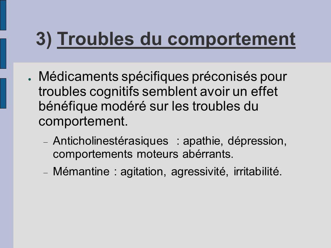 3) Troubles du comportement Médicaments spécifiques préconisés pour troubles cognitifs semblent avoir un effet bénéfique modéré sur les troubles du co
