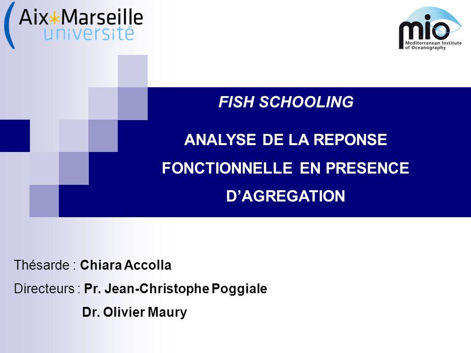 FISH SCHOOLING ANALYSE DE LA REPONSE FONCTIONNELLE EN PRESENCE DAGREGATION Thésarde : Chiara Accolla Directeurs : Pr. Jean-Christophe Poggiale Dr. Oli