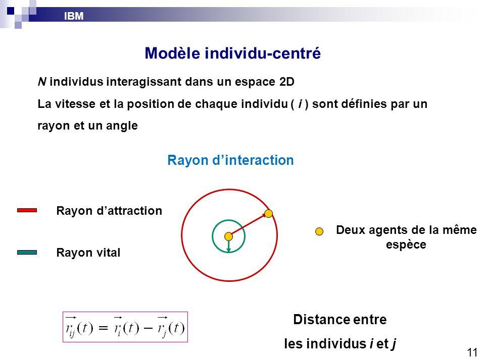 IBM Modèle individu-centré Distance entre les individus i et j Rayon dinteraction Rayon dattraction Rayon vital Deux agents de la même espèce 11 N ind