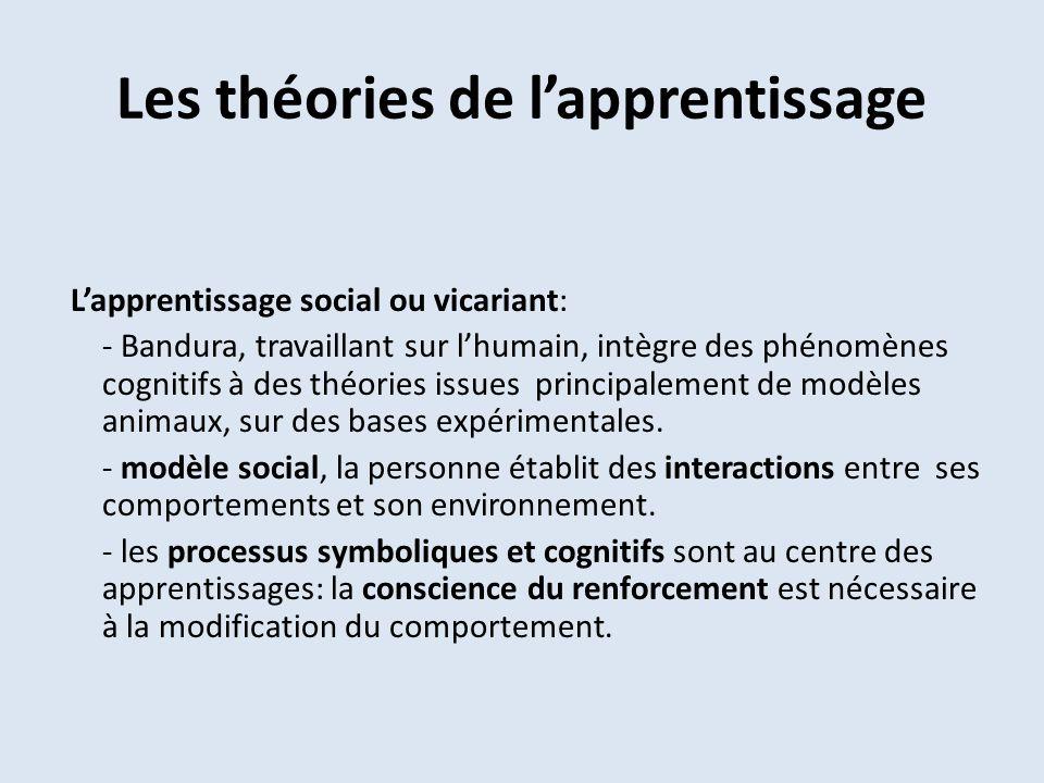Les théories de lapprentissage Lapprentissage social ou vicariant: - Bandura, travaillant sur lhumain, intègre des phénomènes cognitifs à des théories issues principalement de modèles animaux, sur des bases expérimentales.