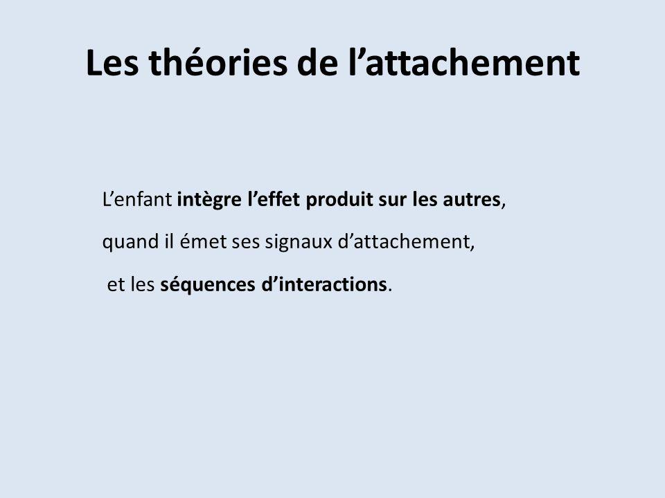 Les théories de lattachement Lenfant intègre leffet produit sur les autres, quand il émet ses signaux dattachement, et les séquences dinteractions.