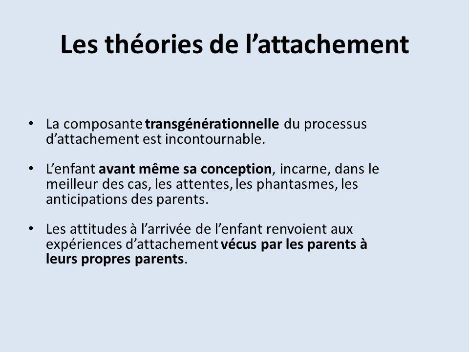 Les théories de lattachement La composante transgénérationnelle du processus dattachement est incontournable. Lenfant avant même sa conception, incarn