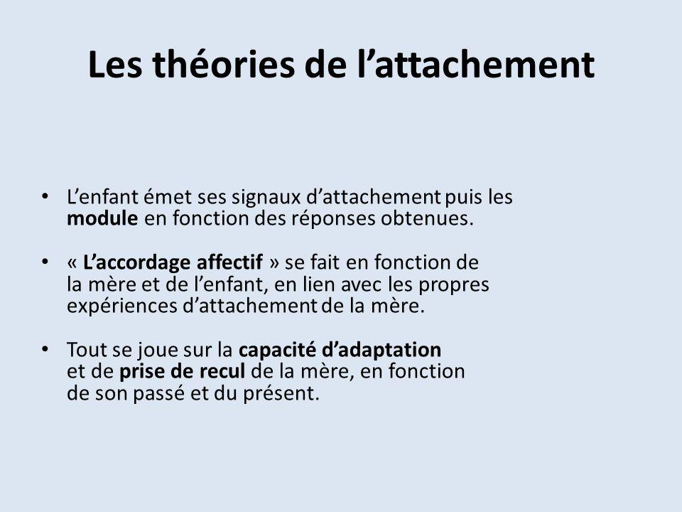 Les théories de lattachement Lenfant émet ses signaux dattachement puis les module en fonction des réponses obtenues. « Laccordage affectif » se fait