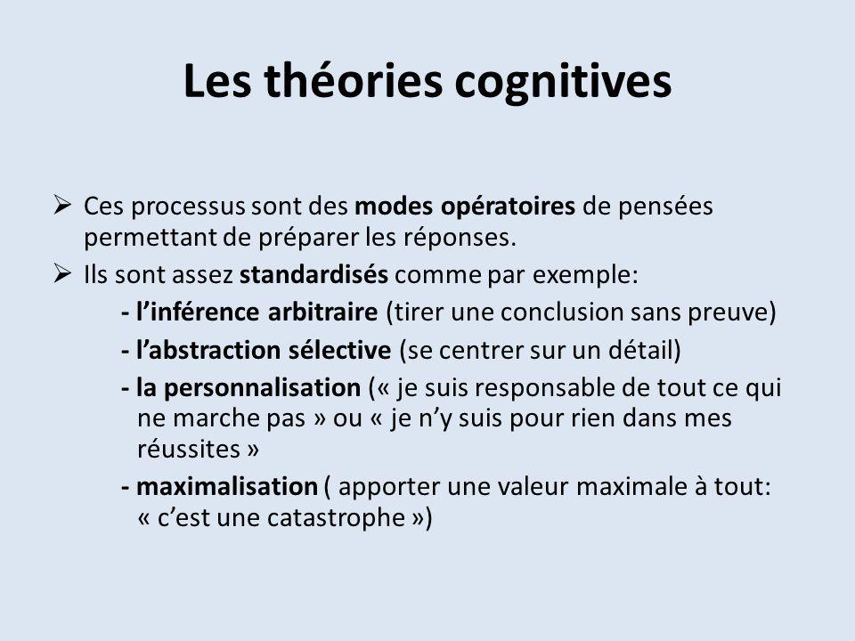 Les théories cognitives Ces processus sont des modes opératoires de pensées permettant de préparer les réponses. Ils sont assez standardisés comme par