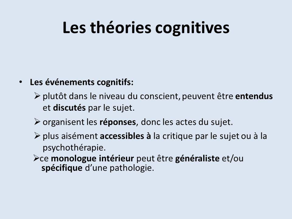 Les théories cognitives Les événements cognitifs: plutôt dans le niveau du conscient, peuvent être entendus et discutés par le sujet. organisent les r