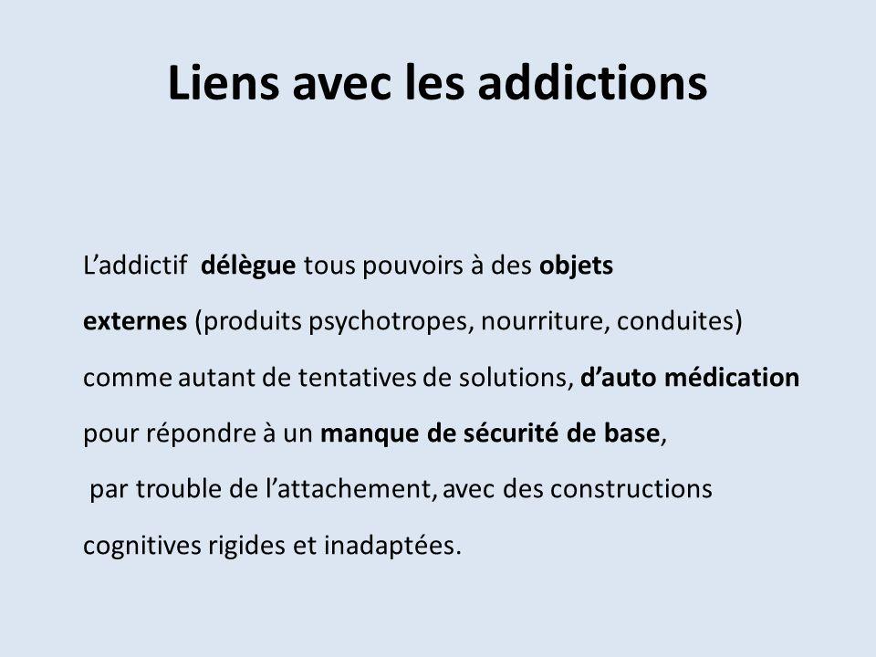 Liens avec les addictions Laddictif délègue tous pouvoirs à des objets externes (produits psychotropes, nourriture, conduites) comme autant de tentati