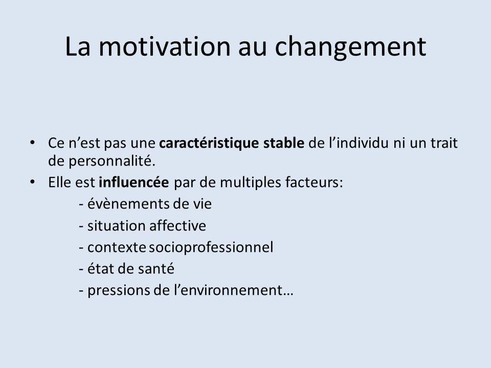 La motivation au changement Ce nest pas une caractéristique stable de lindividu ni un trait de personnalité. Elle est influencée par de multiples fact