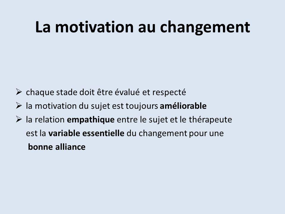La motivation au changement chaque stade doit être évalué et respecté la motivation du sujet est toujours améliorable la relation empathique entre le sujet et le thérapeute est la variable essentielle du changement pour une bonne alliance