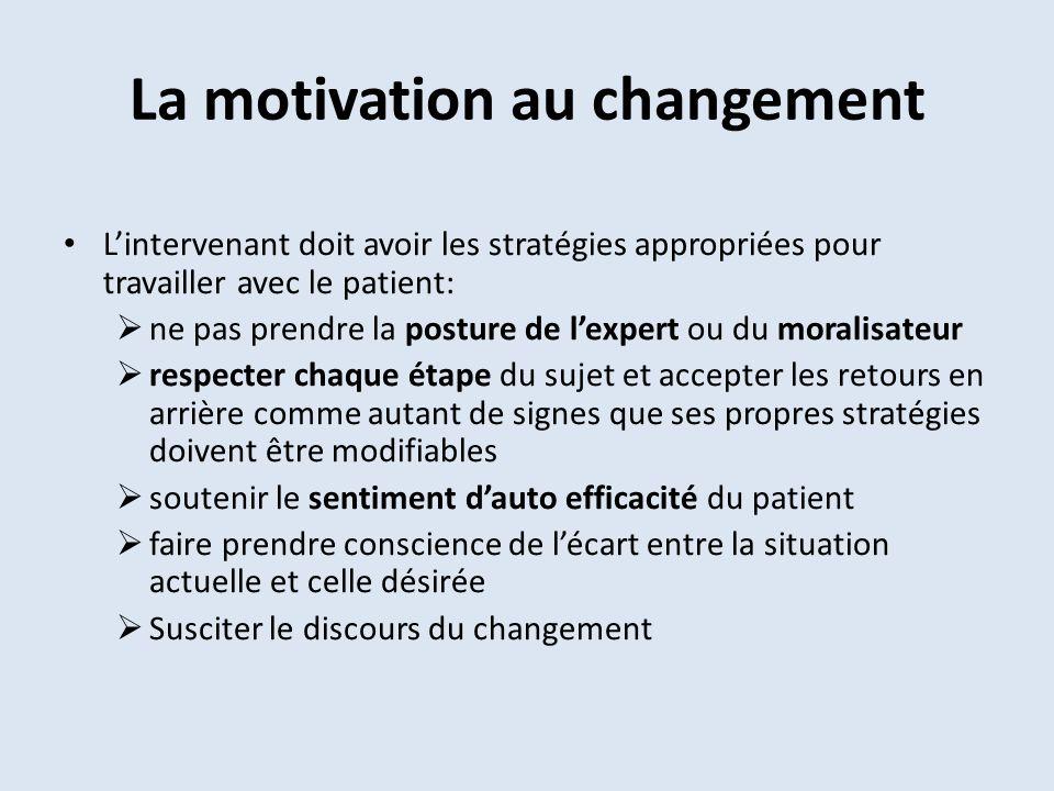 La motivation au changement Lintervenant doit avoir les stratégies appropriées pour travailler avec le patient: ne pas prendre la posture de lexpert o