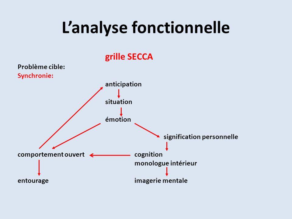 Lanalyse fonctionnelle grille SECCA Problème cible: Synchronie: anticipation situation émotion signification personnelle comportement ouvertcognition monologue intérieur entourageimagerie mentale