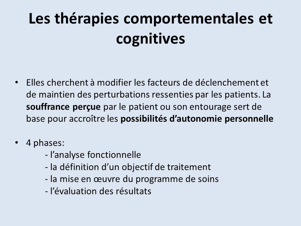 Les thérapies comportementales et cognitives Elles cherchent à modifier les facteurs de déclenchement et de maintien des perturbations ressenties par les patients.