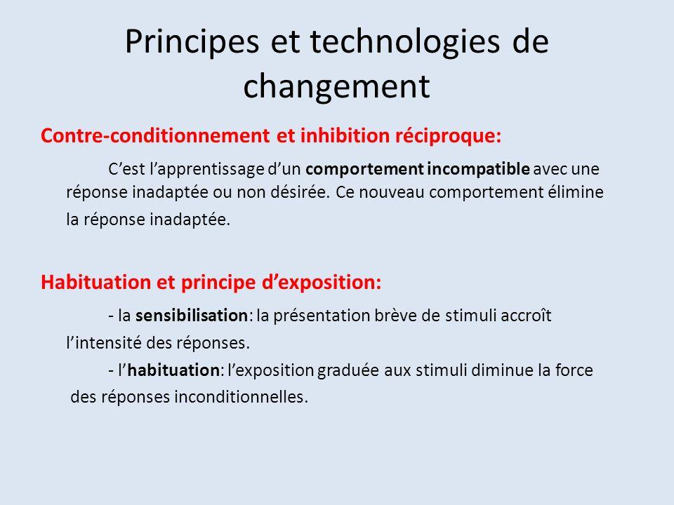 Principes et technologies de changement Contre-conditionnement et inhibition réciproque: Cest lapprentissage dun comportement incompatible avec une réponse inadaptée ou non désirée.