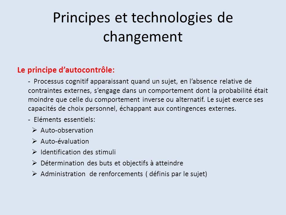 Principes et technologies de changement Le principe dautocontrôle: - Processus cognitif apparaissant quand un sujet, en labsence relative de contraint