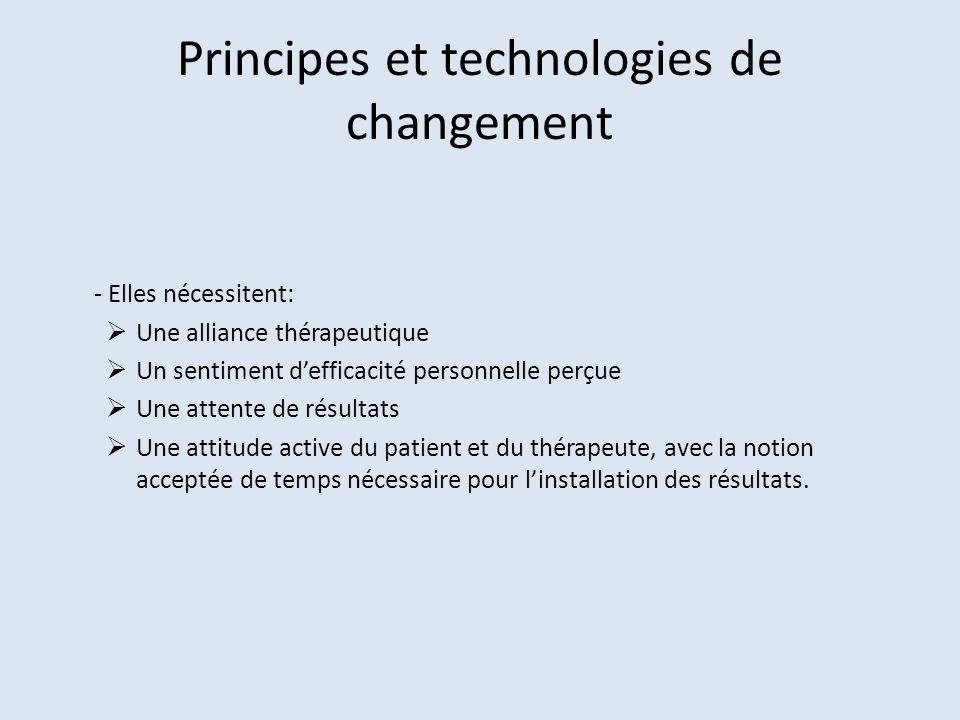 Principes et technologies de changement - Elles nécessitent: Une alliance thérapeutique Un sentiment defficacité personnelle perçue Une attente de rés