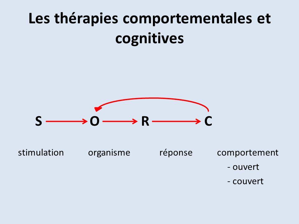 Les thérapies comportementales et cognitives S O R C stimulation organisme réponse comportement - ouvert - couvert