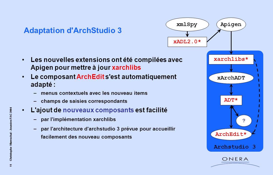 11 Christophe Mareschal - Jounées FAC 2004 Adaptation d'ArchStudio 3 xADL2.0* xarchlibs* xmlSpyApigen xArchADT ADT* ArchEdit* Les nouvelles extensions