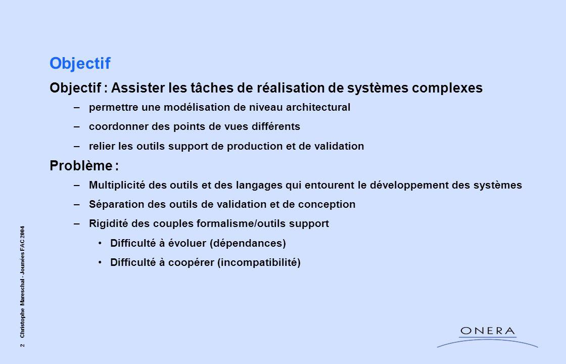 2 Christophe Mareschal - Jounées FAC 2004 Objectif Objectif : Assister les tâches de réalisation de systèmes complexes –permettre une modélisation de