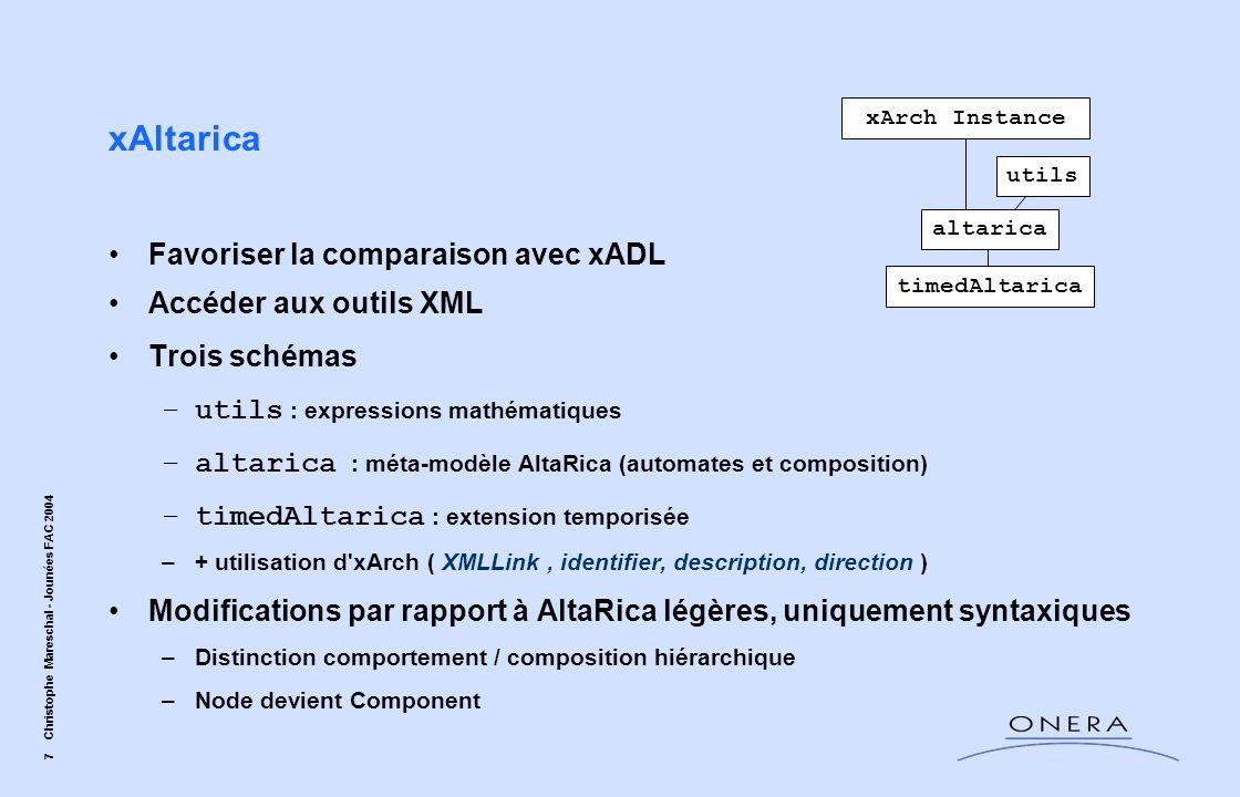 7 Christophe Mareschal - Jounées FAC 2004 xAltarica Favoriser la comparaison avec xADL Accéder aux outils XML Trois schémas –utils : expressions mathé
