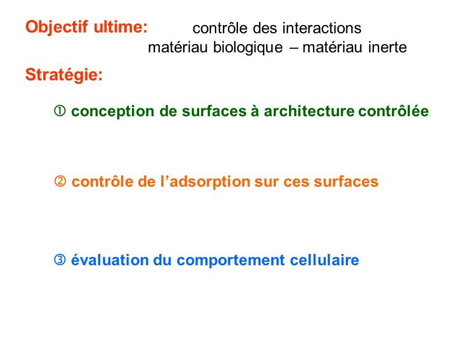 Objectif ultime: contrôle des interactions matériau biologique – matériau inerte Stratégie: conception de surfaces à architecture contrôlée contrôle d