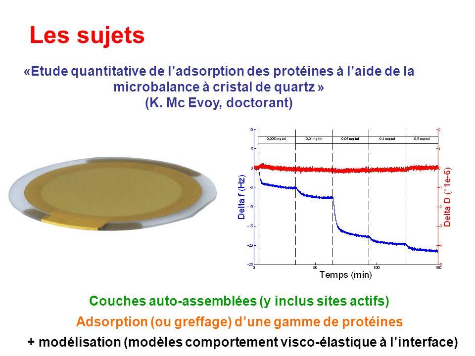 «Etude quantitative de ladsorption des protéines à laide de la microbalance à cristal de quartz » (K. Mc Evoy, doctorant) Les sujets Adsorption (ou gr