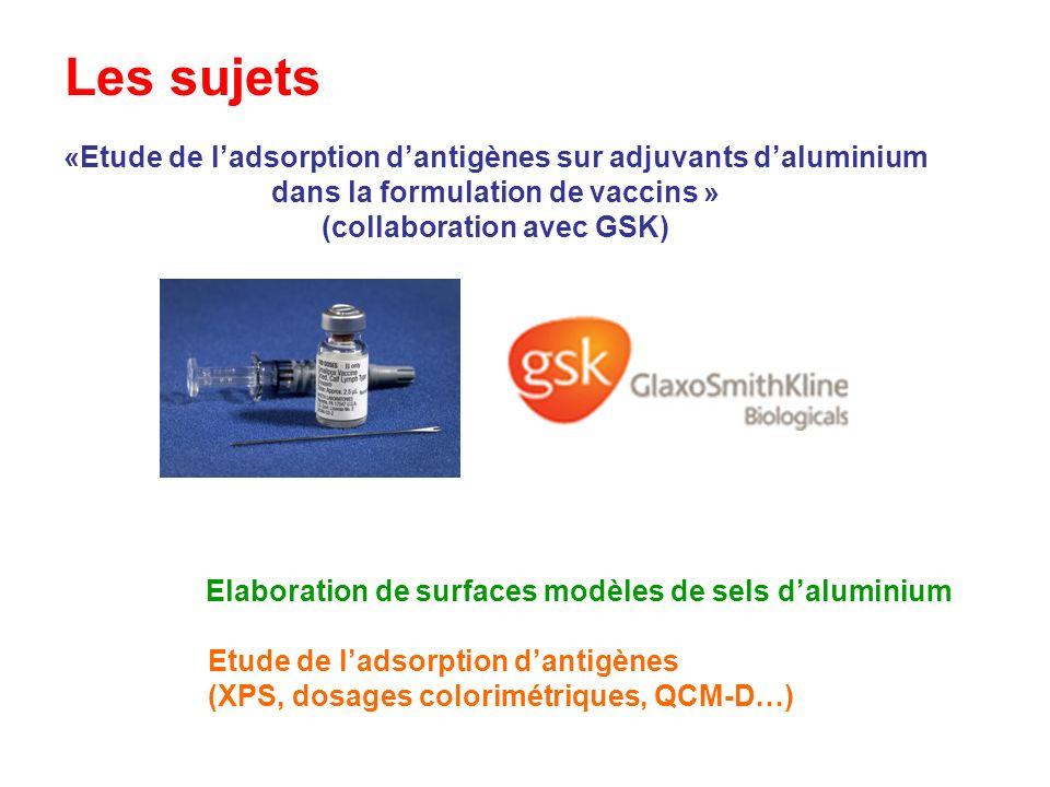 Les sujets «Etude de ladsorption dantigènes sur adjuvants daluminium dans la formulation de vaccins » (collaboration avec GSK) Etude de ladsorption da