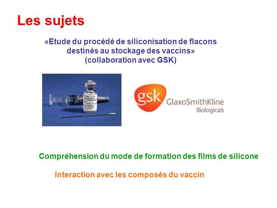 Les sujets «Etude du procédé de siliconisation de flacons destinés au stockage des vaccins» (collaboration avec GSK) Interaction avec les composés du
