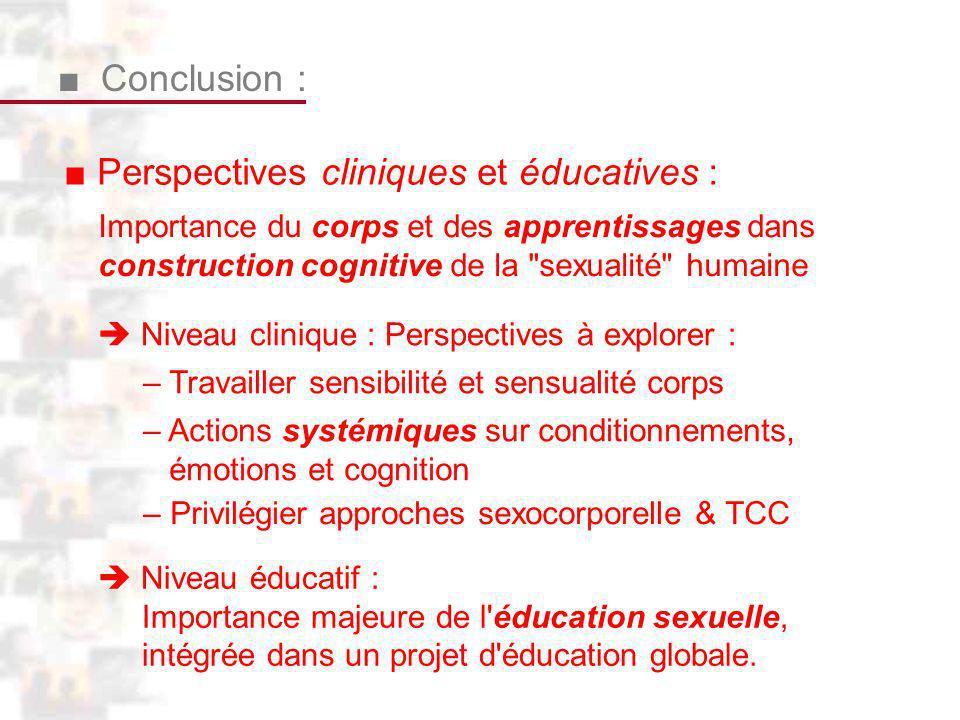 D125 : Conclusion 2 Conclusion : Perspectives cliniques et éducatives : Importance du corps et des apprentissages dans construction cognitive de la sexualité humaine Niveau éducatif : Importance majeure de l éducation sexuelle, intégrée dans un projet d éducation globale.