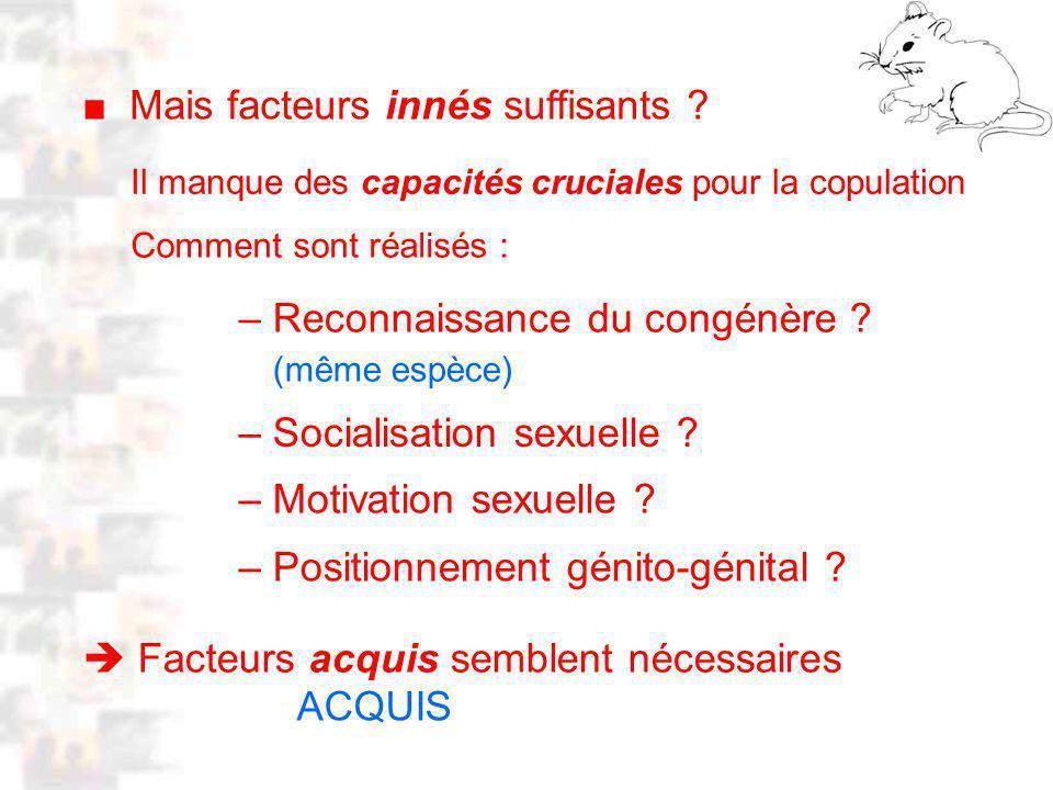 D22 : Modèles : Mammifères 14 : Facteurs acquis 1 Facteurs acquis semblent nécessaires Mais facteurs innés suffisants .