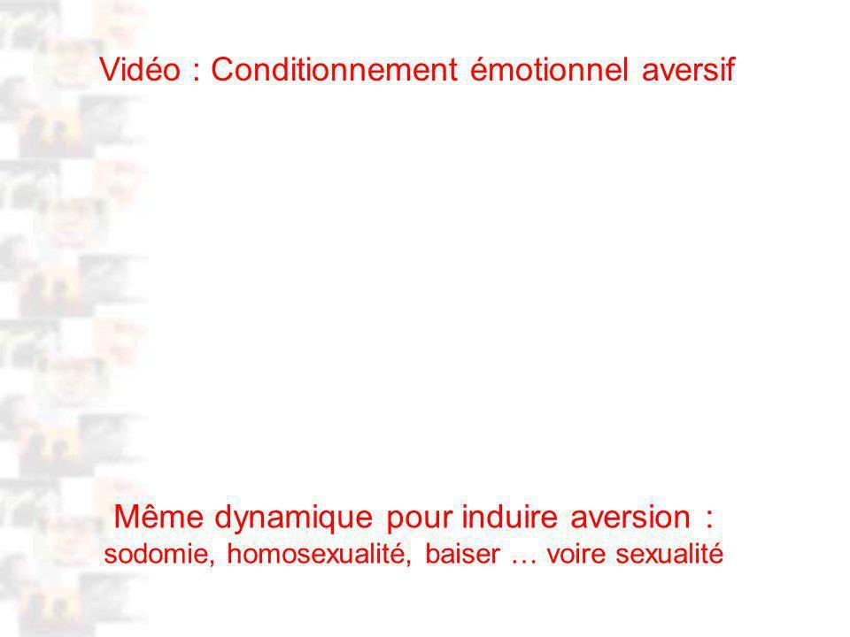 Vidéo : Conditionnement émotionnel aversif D87 : Modèles : Homme 20 : Développement & Dynamique 16 Même dynamique pour induire aversion : sodomie, homosexualité, baiser … voire sexualité