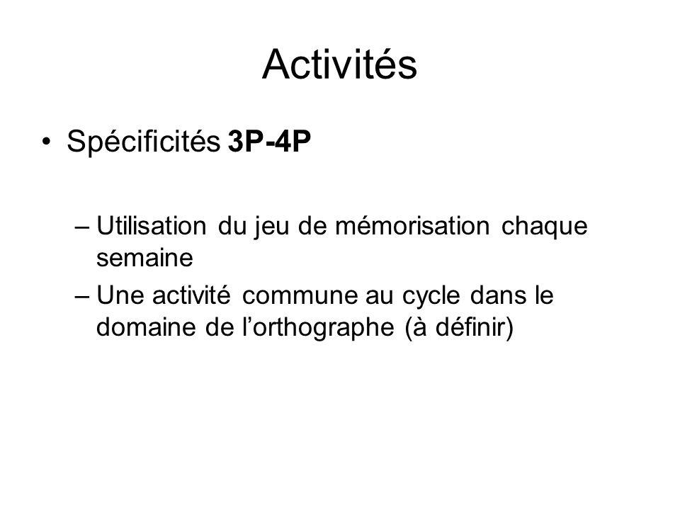 Activités Spécificités 3P-4P –Utilisation du jeu de mémorisation chaque semaine –Une activité commune au cycle dans le domaine de lorthographe (à définir)