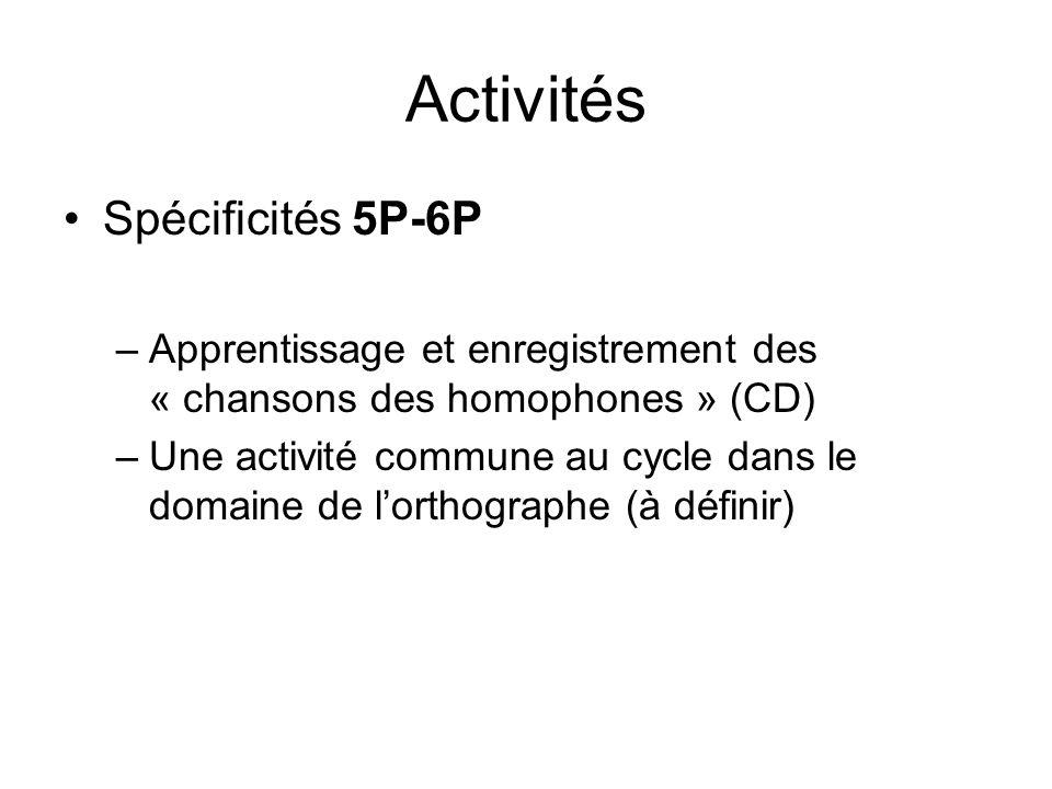 Activités Spécificités 5P-6P –Apprentissage et enregistrement des « chansons des homophones » (CD) –Une activité commune au cycle dans le domaine de lorthographe (à définir)