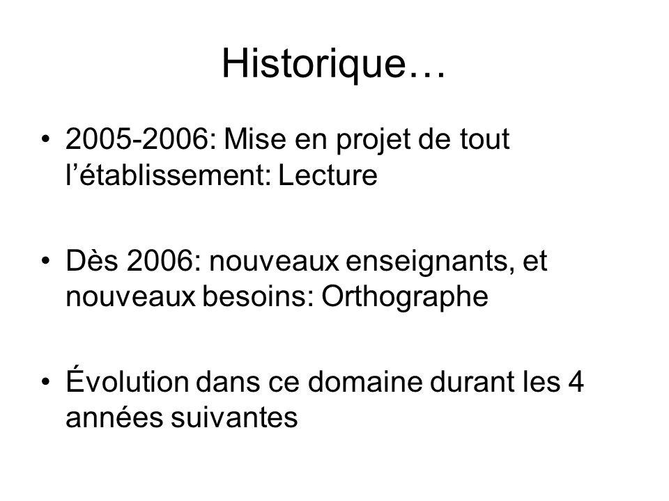 Historique… 2005-2006: Mise en projet de tout létablissement: Lecture Dès 2006: nouveaux enseignants, et nouveaux besoins: Orthographe Évolution dans ce domaine durant les 4 années suivantes