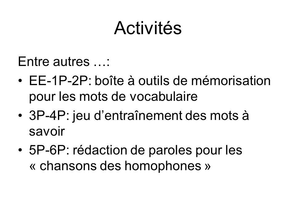 Activités Entre autres …: EE-1P-2P: boîte à outils de mémorisation pour les mots de vocabulaire 3P-4P: jeu dentraînement des mots à savoir 5P-6P: rédaction de paroles pour les « chansons des homophones »