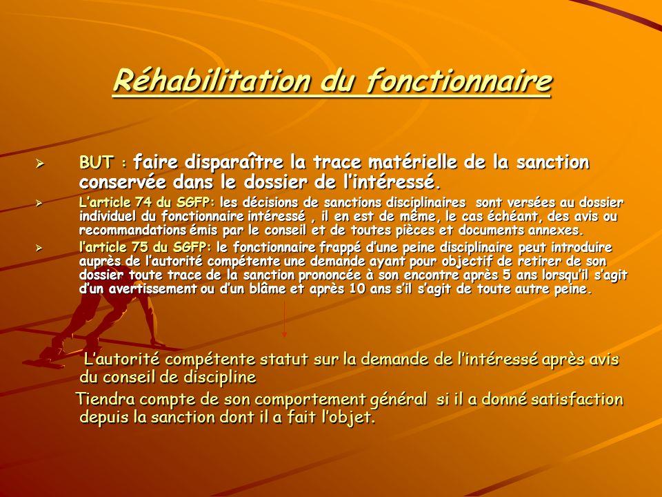 Réhabilitation du fonctionnaire BUT : faire disparaître la trace matérielle de la sanction conservée dans le dossier de lintéressé. BUT : faire dispar