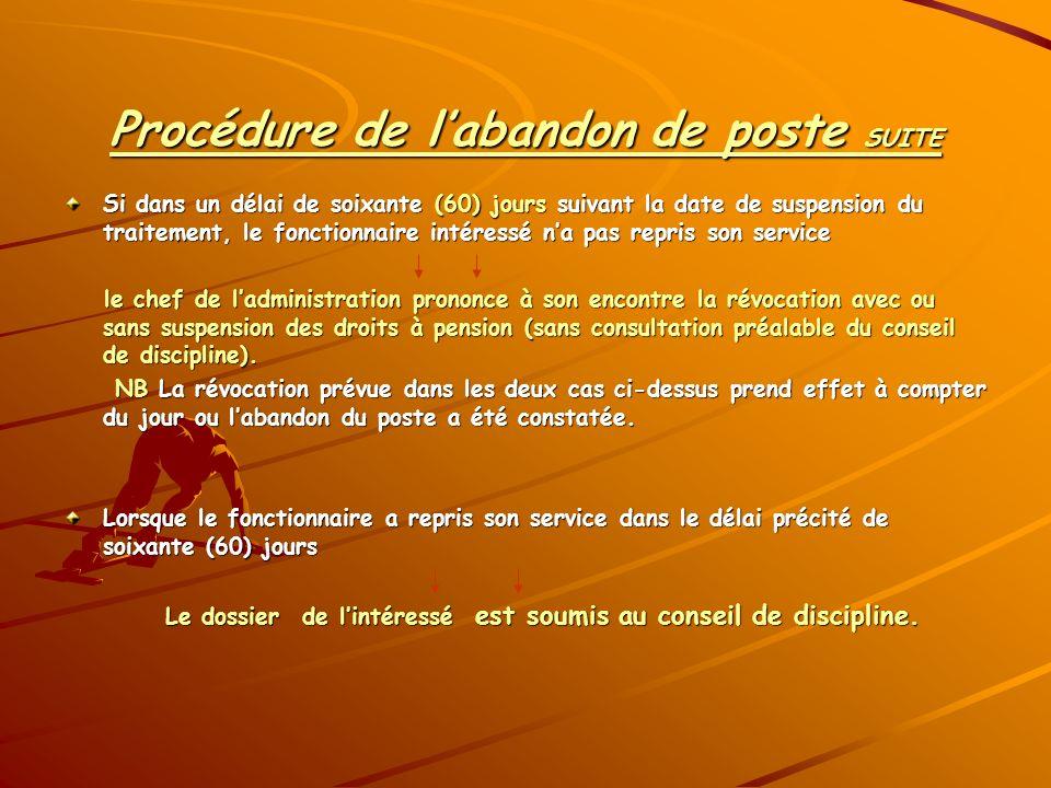 Procédure de labandon de poste SUITE Si dans un délai de soixante (60) jours suivant la date de suspension du traitement, le fonctionnaire intéressé n