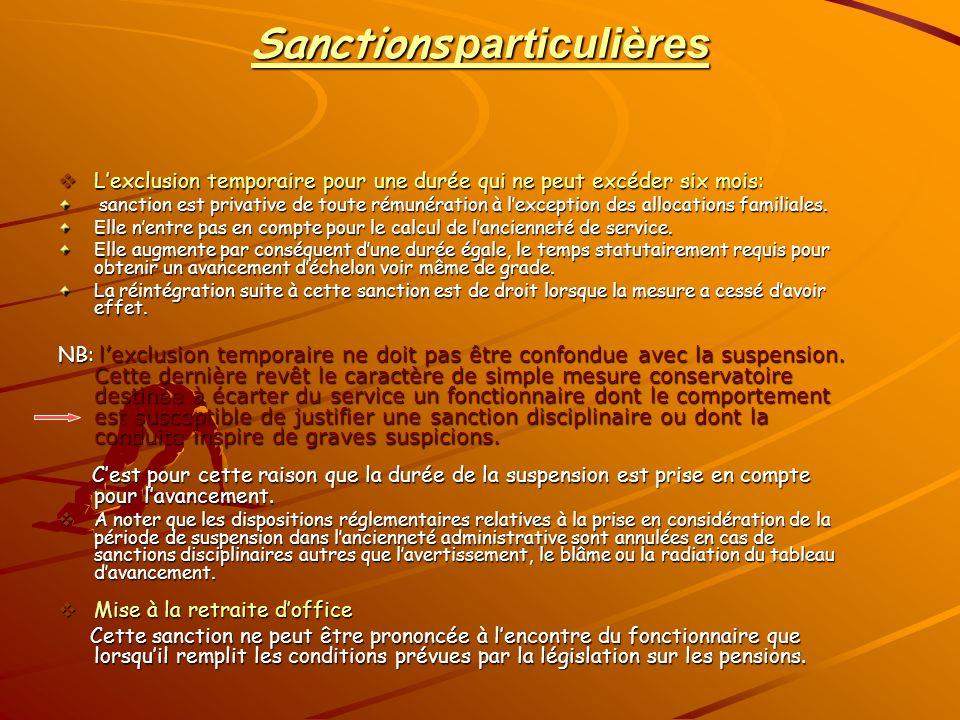 Sanctions particulières Lexclusion temporaire pour une durée qui ne peut excéder six mois: Lexclusion temporaire pour une durée qui ne peut excéder si