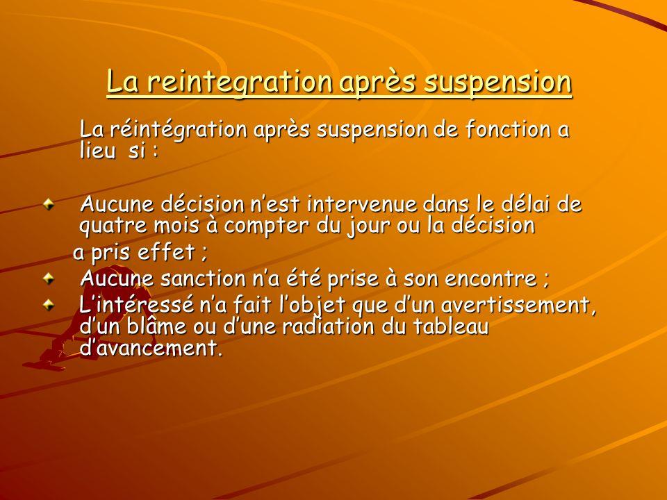 La reintegration après suspension La reintegration après suspension La réintégration après suspension de fonction a lieu si : La réintégration après s