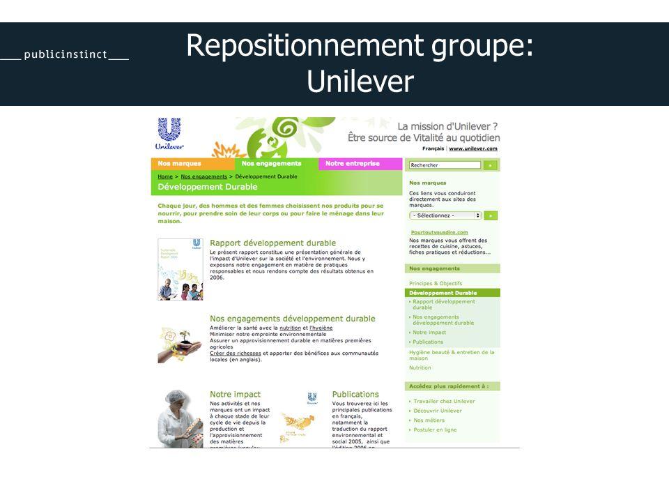 Repositionnement groupe: Unilever