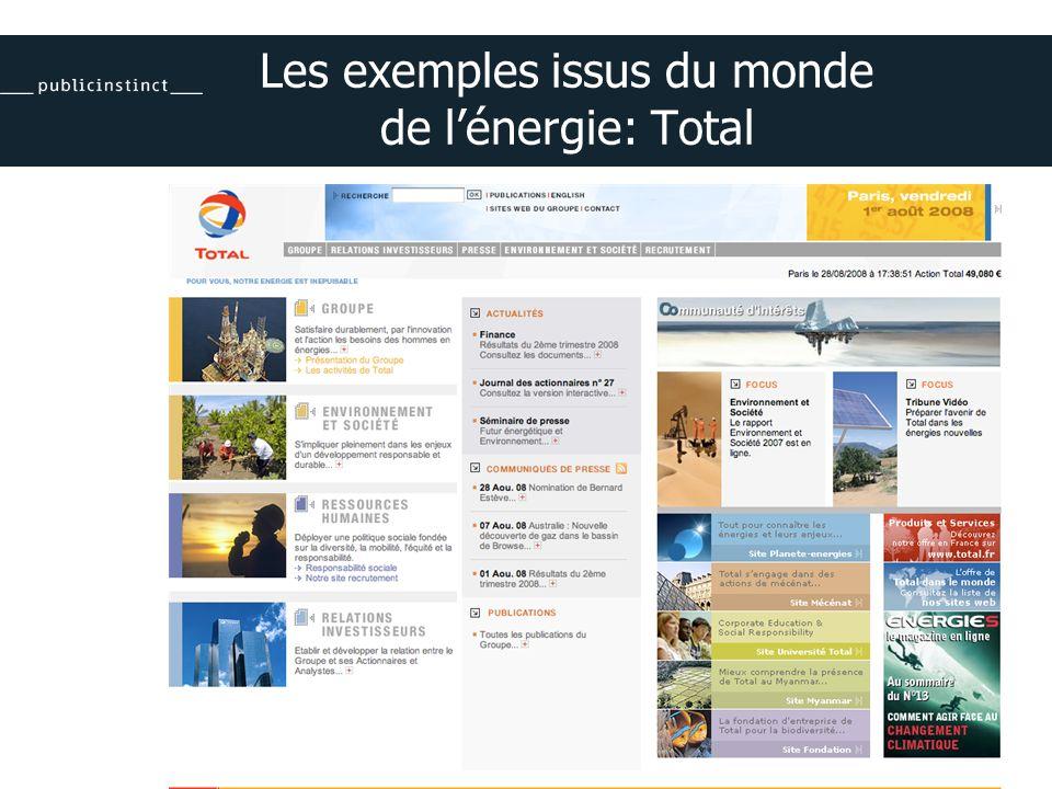 Les exemples issus du monde de lénergie: Total