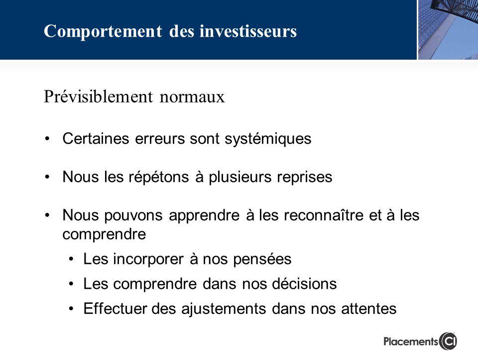 Prévisiblement normaux Certaines erreurs sont systémiques Nous les répétons à plusieurs reprises Nous pouvons apprendre à les reconnaître et à les comprendre Les incorporer à nos pensées Les comprendre dans nos décisions Effectuer des ajustements dans nos attentes Comportement des investisseurs